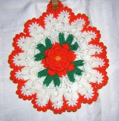 Crocheted pot holder w petaled rose detail hanger unused hc1478