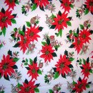 Poinsettia ornament print Christmas tablecloth vintage linens hc1492