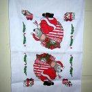 Woven cotton Christmas towel overloaded mouse as Santa vintage linens hc1446