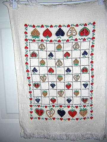 Woven cotton towel hearts fruits on checkerboard unused hc1510