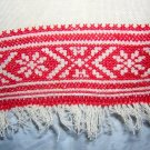 Cross-stitch embroidered towel redwork vintage linens hc1528