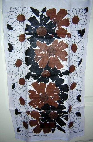 Chris Bash hand printed linen towel sophisticated slightly masculine unused vintage hc1537