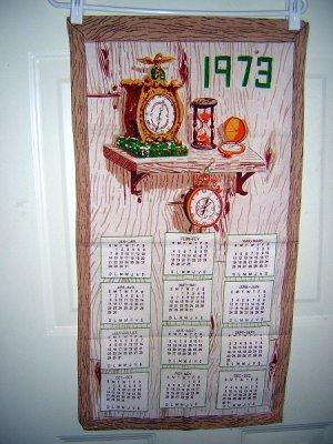 Keeping time 1973 calendar cotton towel clocks watches hour glass hc1558