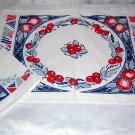 Art Deco placemats napkins apples cherries 4 ea vintage linens hc1569