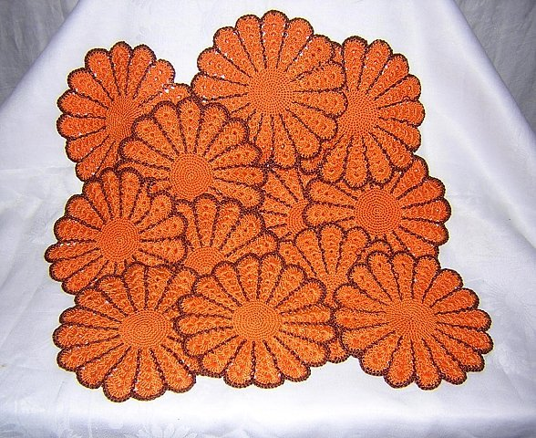 15 Hand crocheted pot holders table mats coasters orange brown unused vintage needlework hc1570