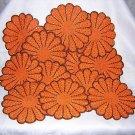 15 Hand crocheted pot holders table mats coasters orange brown unused vintage needlework hc1570