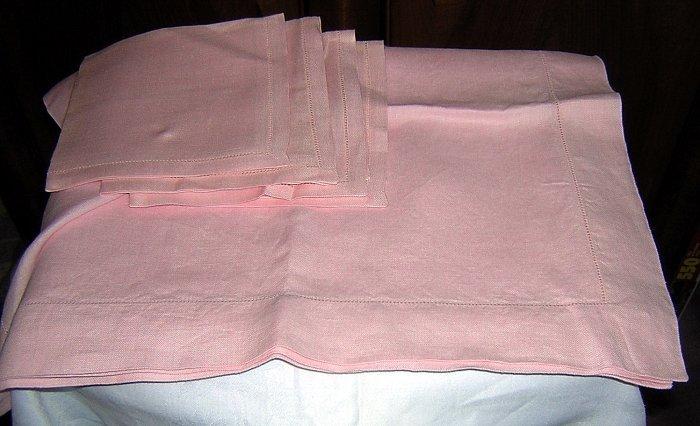 Pink Irish linen tablecloth 4 napkins threadwork hems vintage linens hc1584