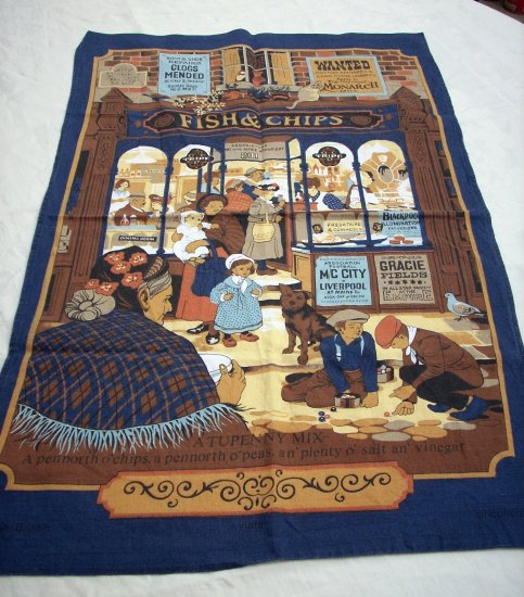 Vista all cotton vintage towel Victorian England Fish n Chips hc1589