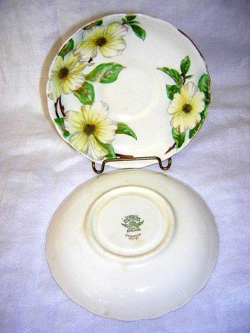 2 Tuscan bone china saucers Dogwood handpainted C9790  hc1599
