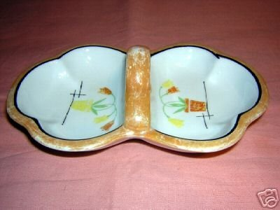 Early Art Deco lustre ware lusterware candy dish Japan hc1606