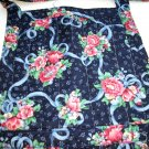 Bib apron posies and ribbons on dark blue cotton mint condition hc1610