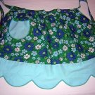 Vintage 60s hostess apron flower power daisies aqua trim hc1618