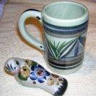 Tonala Mexican pottery mug signed numbered hc1624