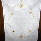Embroidered linen tray liner dresser scarf antique hc1625