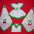 4 Hand crocheted decorations Christmas colors dress envelope cones vintage needlework hc1643