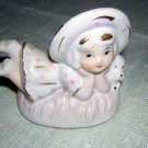 Little girl & puppy porcelain figurine pink polka dots Giftcraft hc1644