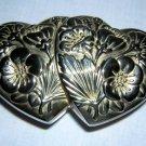 International Silver double heart jewelry casket box 1994 hc1647