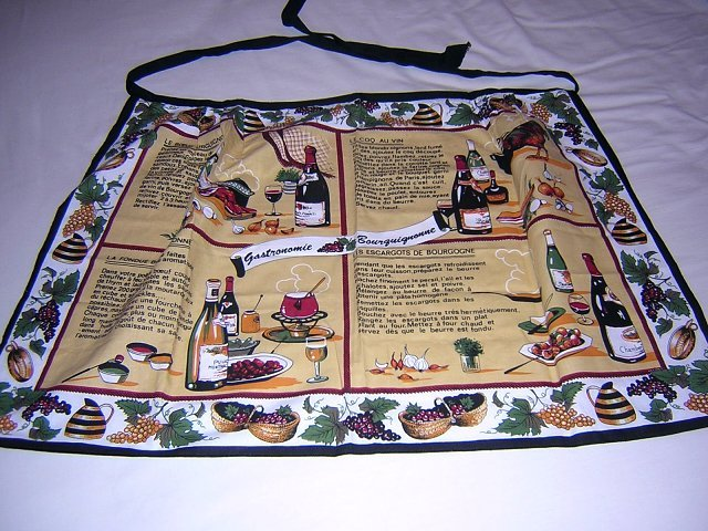 Cooking with wine apron 4 French recipes cotton unused hc1648