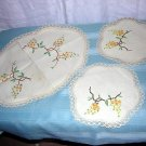 3 Piece set embroidered linen vanity or buffet mats antique hc1650