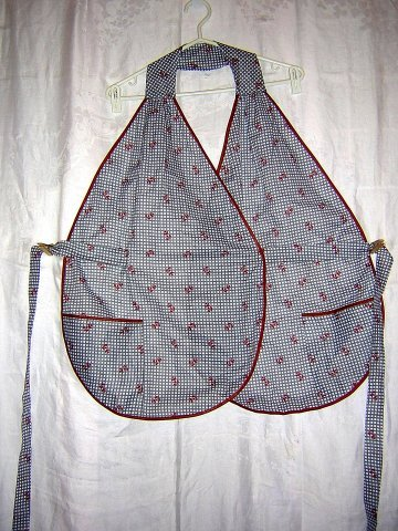 Unusual shawl apron with ties unused vintage 2 pockets hc1656