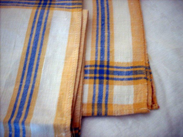 5 Classic linen casual napkins gold blue stripe borders Provence look vintage linens hc1689