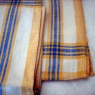 5 Classic linen casual napkins gold blue stripe borders Provence look vintage linens hc1689