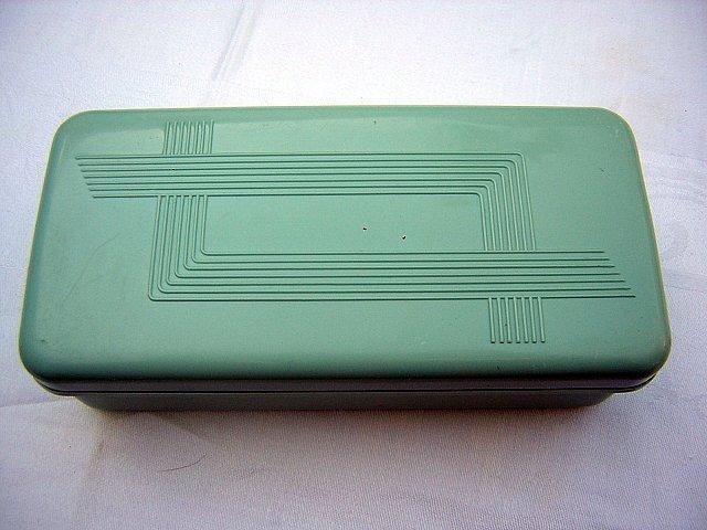Celluloid plastic box with insert classic Art Deco vintage hc1690
