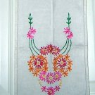 Embroidered flowers linen dresser scarf runner threadwork vintage hc1692