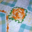 Dish cloth Irish crochet tablecloth unused handmade vintage linens hc1696