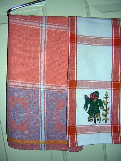2 Color coordinated tea towels scarecrow and jacquard weave hc1714