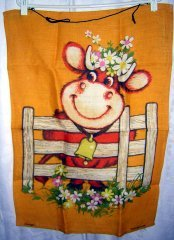 Dunmoy Irish linen towel smiling cow floral hat hanger hc1740
