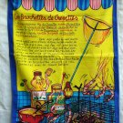 Les Brochettes de Crevettes recipe tea towel in French unused hc1744
