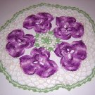 Purple pansies hand crocheted table topper centerpiece hc1754