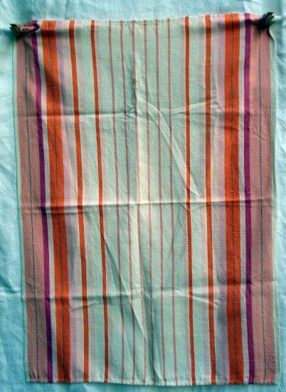 Striped vintage linen tea towel orange pink red white hc1759