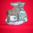 Embroidered moose Christmas tree decoration 1994 stuffed satin Eaton hc1782