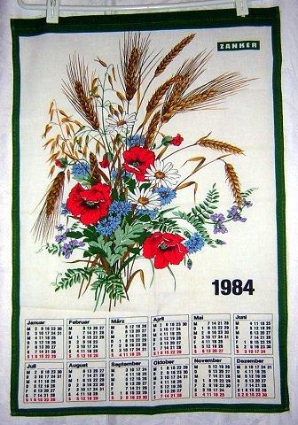 1984 Calendar towel Anemones daisies wheat lavender Zanker hc1802