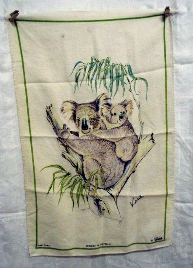 Koala bears linen tea towel designed by Ladelle vintage hc1819