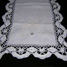 Victorian linen table runner  bobbin lace antique 50 inches hc1833