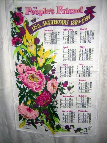 1994 calendar towel The People's Friend 125th anniversary hc1834