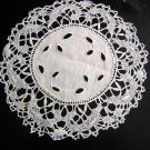 3 Antique linen doilies with bobbin lace & eyelets hc1836