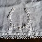 Antique white embroidered tray or table mat linen tatted edge threadwork fine hc1830