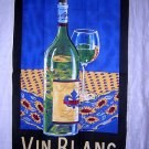 Vin Blanc white wine cotton towel unused vintage hc1854
