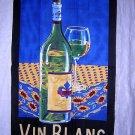Vin Blanc white wine cotton towel unused vintage hc1854
