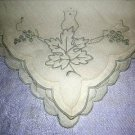 3 Antique embroidered linen napkins oak leaves posh hc1892
