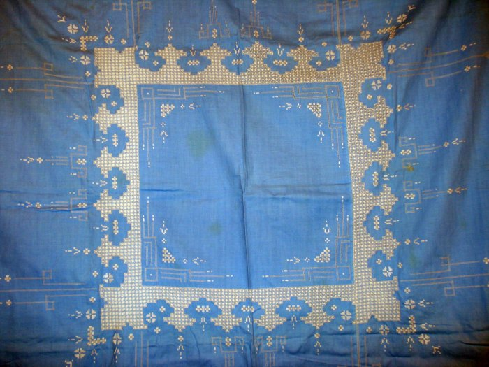 Tablecloth white embroidery and threadwork on blue cotton vintage hc1955