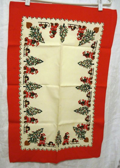 Santa Christmas trees sleds printed towel or table mat vintage linens hc1970