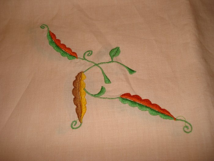 Embroidered linen tablecloth 4 napkins set threadwork hem vintage hc1981