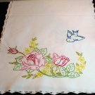 Bluebirds and red roses embroidered dresser scarf runner crocheted edge 1940s vintage hc1991