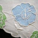 Applique and whitework on linen table mat centerpiece antique hc1992