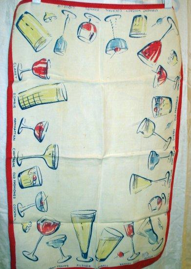 1950s Vintage linen towel cocktails not perfect hc1994